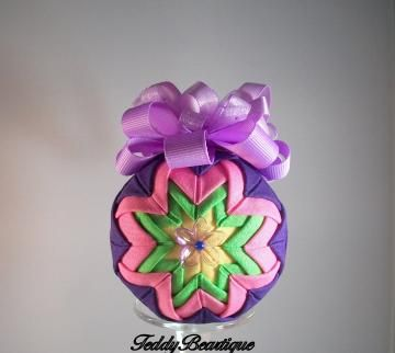 Purple Delight Handmade Quilted Ornament with Lavendar Flower Purple Ribbon  by teddybeartique for $18.00