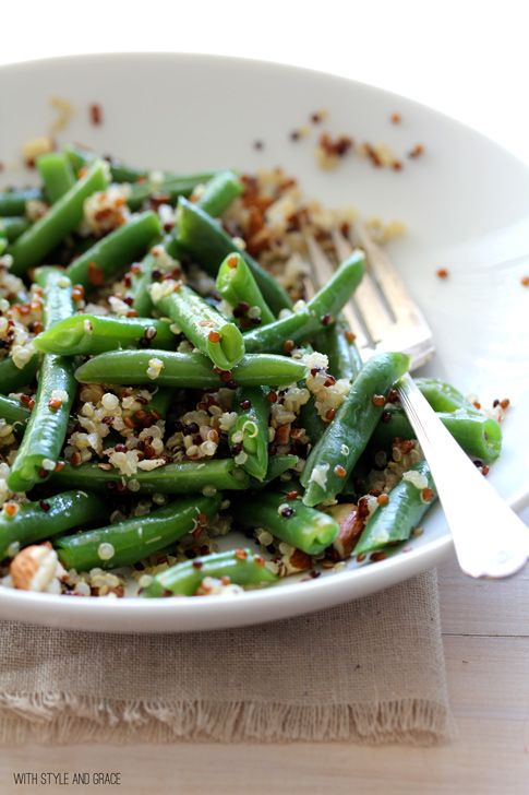 green beans and quinoa with citrus dressing.