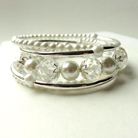 White Pearl Bracelet Silver Tube Memory Wire Wrap Jewelry 5 Wraps