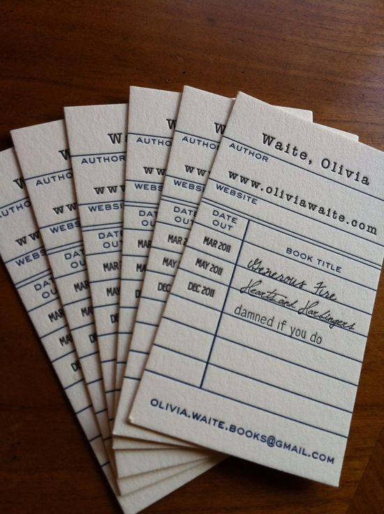 business cards, library book return cards