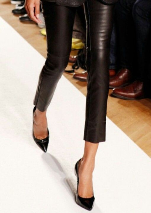 leather skinnies pointy toe heels