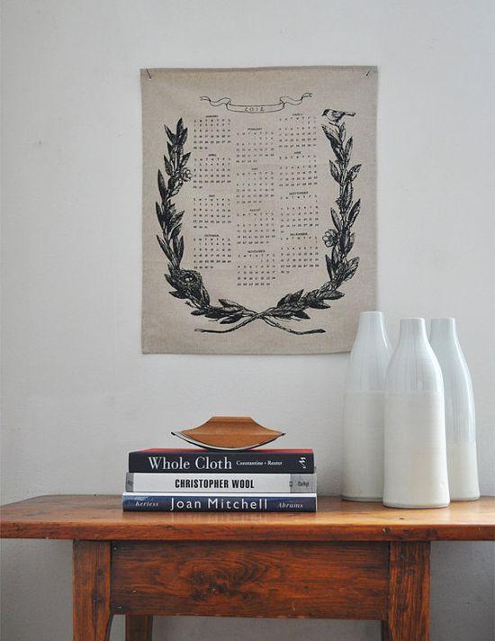 2012 calendar printed on linen