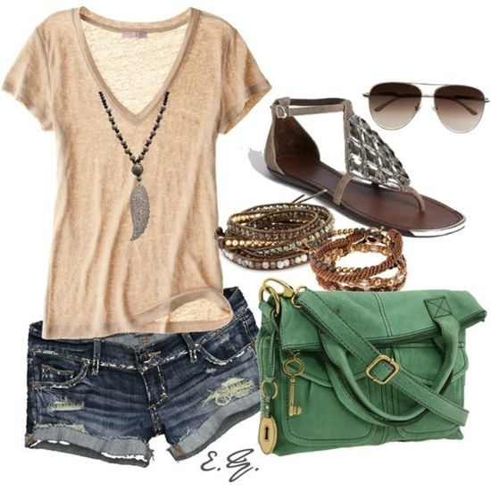 Tan Tee + Distressed Denim Shorts + Green Crossbody Bag + Brown Sandals + Brown Accessories
