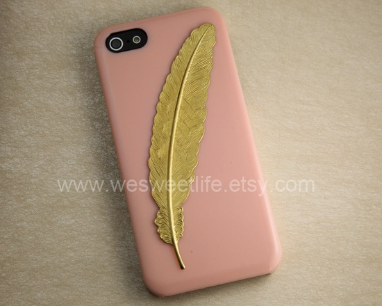 Iphone 5 Case,Golden angle Feather Iphone 5 Case, case for iphone 5, peach Iphone 5 case. $8.99, via Etsy.