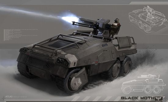Black Moth: Atlas Picture  (2d, sci-fi, vehicle, assault, truck, railgun, minigun, military)