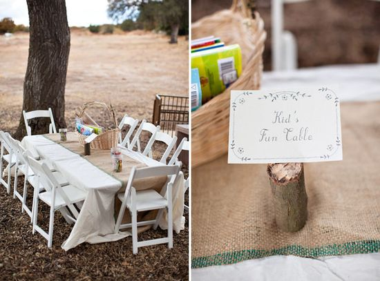 kids table at the reception...fantastic idea!