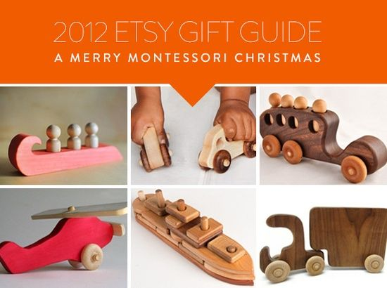 Etsy Holiday Gift Guide: A Merry Montessori Christmas! Great handmade wooden toys for kids from Deborah Beau of Kickcan