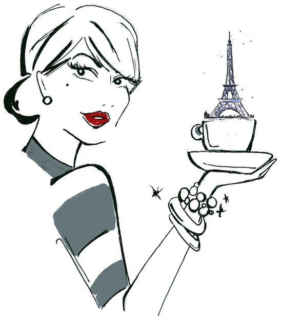 Cup of Paris, mixed media #illustration #paris #stripes