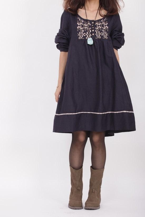linen doll long sleeved Dress