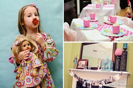 Dollie and me tea party + American Girl Doll party via Kara's Party Ideas karaspartyideas.com #dolly #tea #party #american #girl #ideas