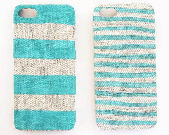 Iphone case stripes on natural linen by STARCREATUREstudio