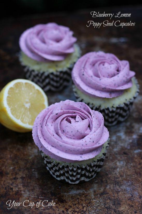 Blueberry Lemon Poppy Seed Cupcakes and Blueberry Lemon Buttercream Frosting (To be made vegan, sub Egg Whites for Agar Agar Powder)