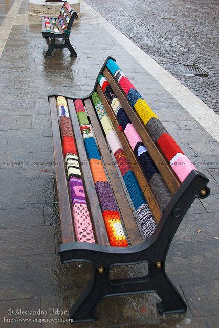 Park bench yarn bombing