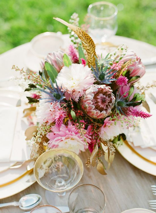 luscious florals in pink, white and gold