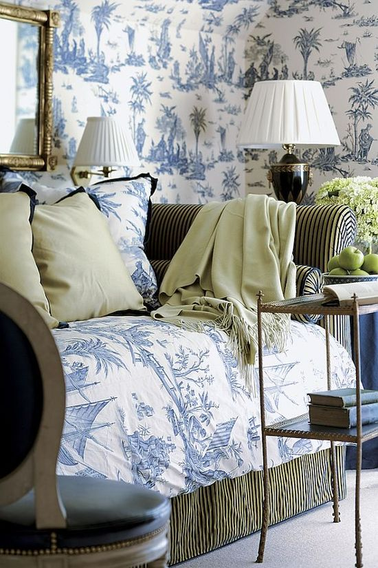 blue and white toile with black