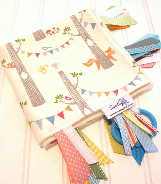 Sensory Ribbon Blanket,Lovey,Tag Blanket/Woodland Party in Cream (Organic) /Organic Cotton Fleece. $25.50, via Etsy.