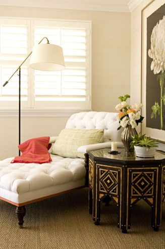 White tufted chaise - makes me want to curl up and read a good book