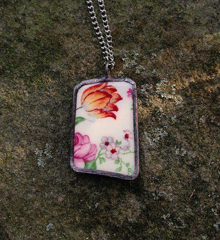 Broken china jewelry shard pendant cheery chintz English chintz recycled broken plate necklace