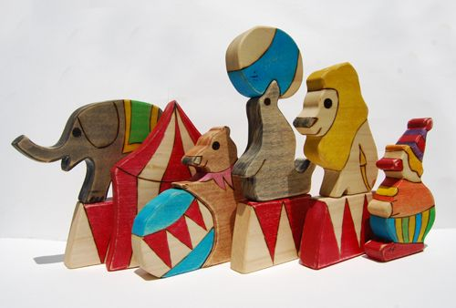 Vintage wooden circus toys