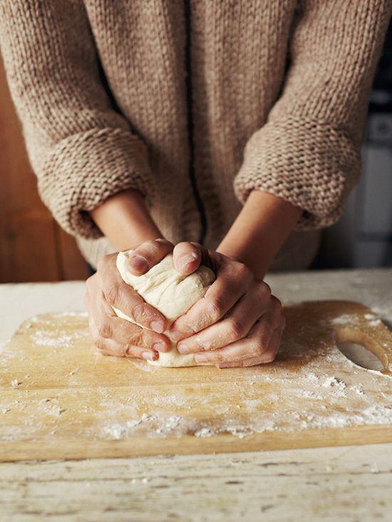 making bread.