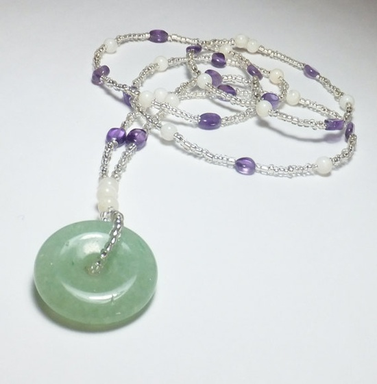 Light Green Aventurine Focal with Amethyst and Mother of by tzteja