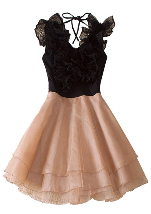 Black Round Neck Sleeveless Ruffles Polyester Tiered Dress - can we say PARTY!!!!!!!!!!!!!