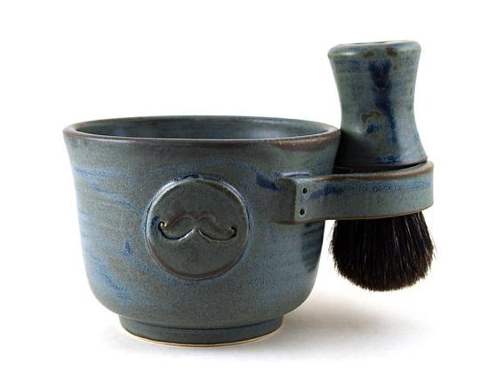 Mens Shaving Set Blue Mustache Shave Mug Black by MiriHardyPottery, $78.00