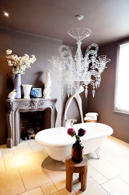 #chandelier #bathroom
