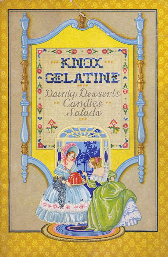 """Beautifully illustrated vintage recipe booklet with lush color food lithographs - SO reminiscent of the 1930s when bleak times called for cheery dishes made with economical ingredients. The cover illustration, with its beautiful Southern Belles, is the epitome of """"dainty."""""""