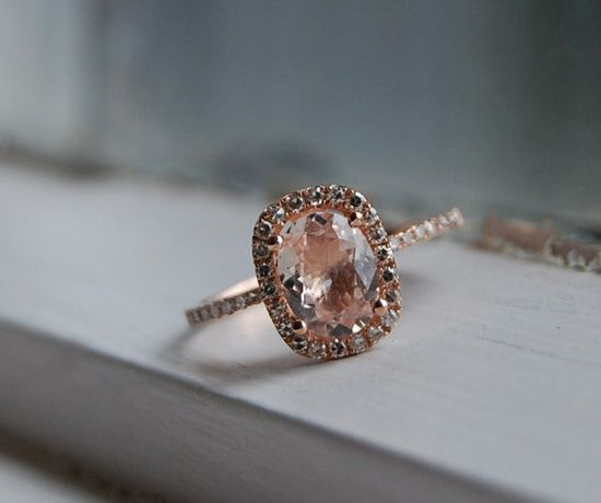 1.27ct Cushion peach champagne sapphire in 14k rose gold diamond ring