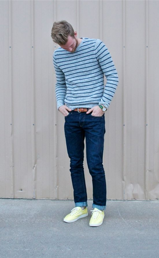 Sweater, Jean, but different shoes.