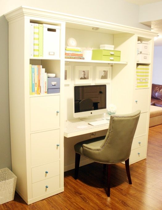 Making a desk with Ikea Expedit Bookshelves. Here is the desk build project budget breakdown: * Wainscoting: $40 * Expedit Shelves {x2}: $120 * Floating Shelf: $30 * Doors and Drawers: $150 * Desk: Free, reused a bifold door we already had * Fabric: $15 * Melamine board and Crown Molding Topper: $25 * Knobs: $12 * Plexi-Glass topper: $18 * Puck Lights: #Desk Layout