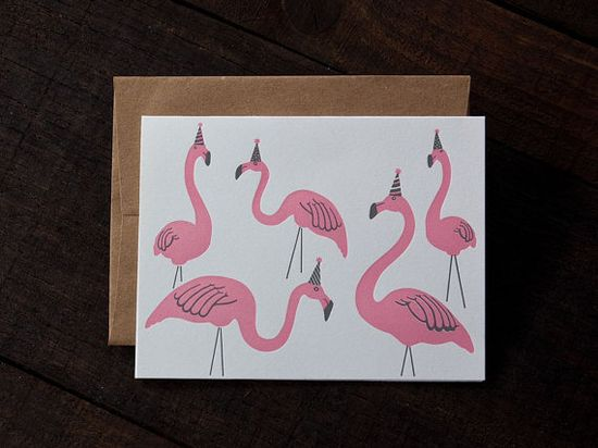 Flamingo Party Letterpress Greeting Card by RiseAndShinePaper, $6.00