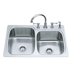 KOHLER Verse Large/Medium Self-Rimming Stainless Steel 33x22x8.25 4-Hole Double Bowl Kitchen Sink-K-3372-4-NA at The Home Depot