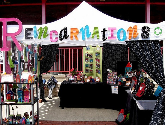 Love the Velcro Sign and how the colors from the letters run into the booth