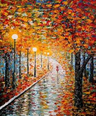 "Painting, ""Rainy Autumn Day acrylic palette knife painting"""