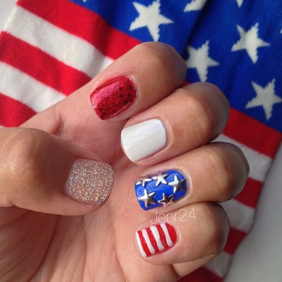 jenr24's festive tips. Show us your 4th of July-inspired nails! Tag your pic #SephoraNailspotting to be featured on our social sites.