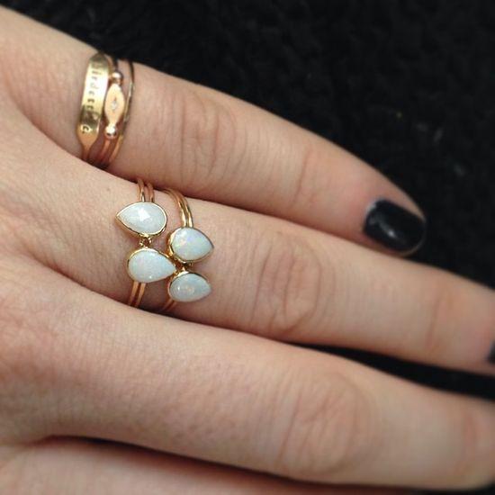 Catbird Opal Teardrop Rings.