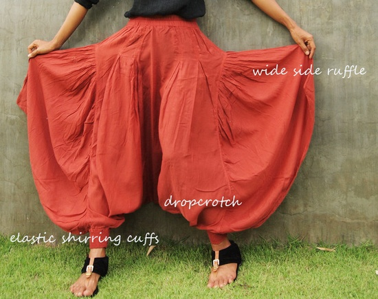 Sugar in my bowl pants...Mix silk Earth red (S-L). $49.00, via Etsy.