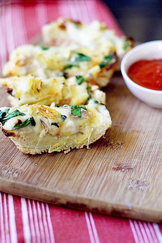 chicken spinach & artichoke french bread pizza