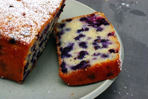 lemon, blueberry, yogurt cake.
