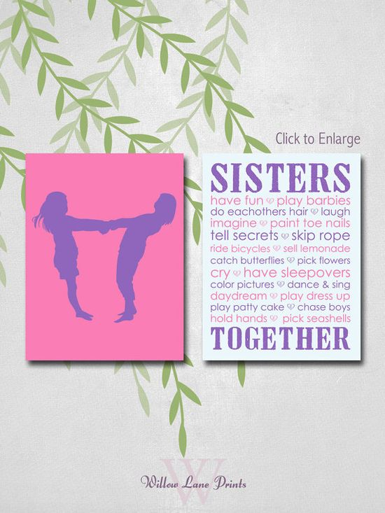 kids wall art sisters bedroom decor big sister by Willowlaneprints on Etsy