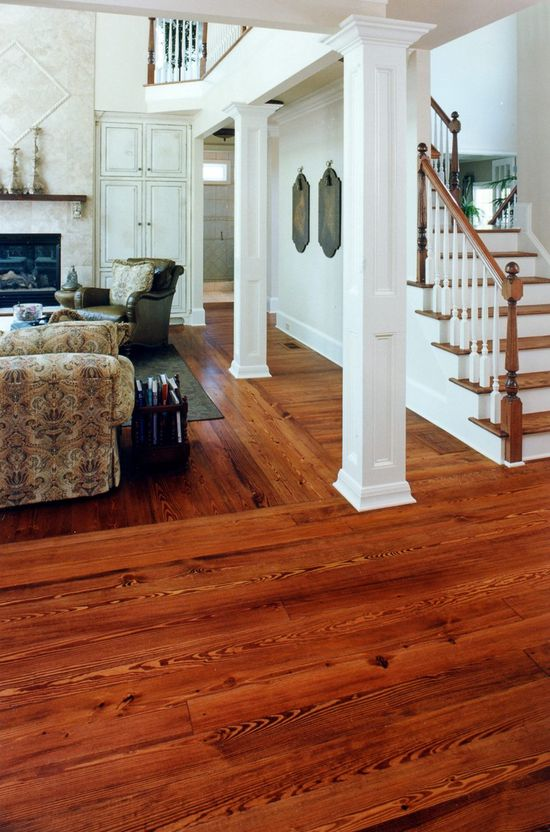 Unlike most floors authentic Heart Pine gets more colorful as it ages! - Heart Pine - Victorian Grade #flooring #pinefloors #homes #heartpine