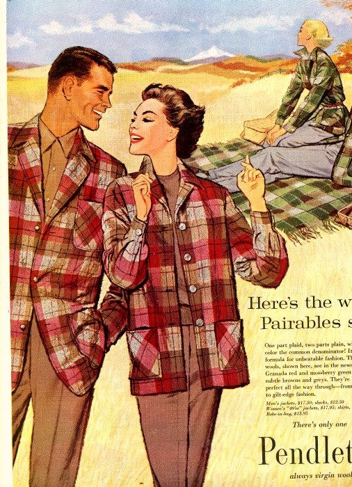 Pairable plaid Pendletons, 1950s. #vintage #fashion #ads