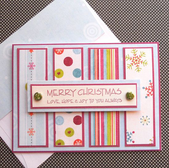 Handmade Christmas Card with Matching Embellished Envelope - Colorful Winter Wishes