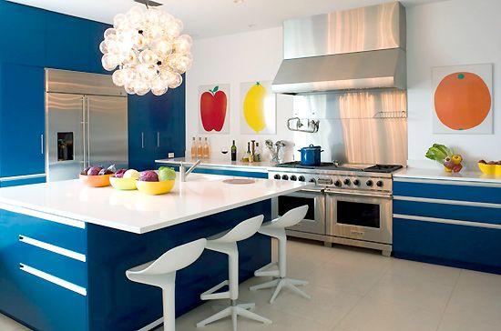 Blue Kitchen interior design - decor - The Designer Pad - The HamptonsStyle