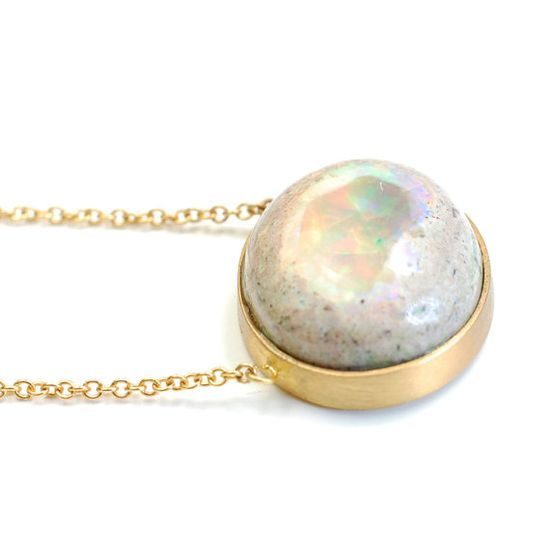 Opal Necklace Opal and Gold Necklace Pendant Necklace by NIXIN