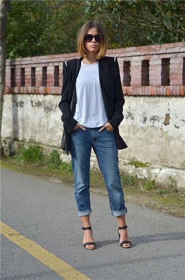 Maxi blazer and boyfriend jeans