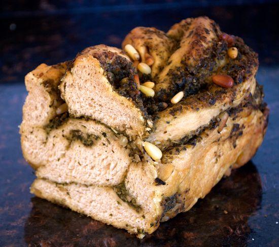 Braided Vegan Pesto Bread (sub GF flour mix)