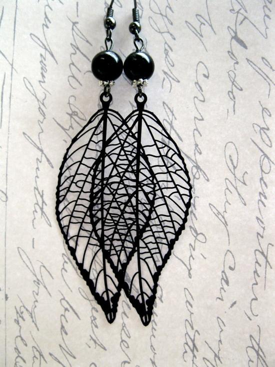 Long Leaf Earrings  black  metal leaves long  by botanicalbird